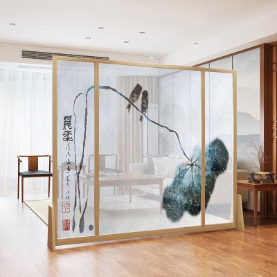 半透落地座屏隔斷客廳臥室玄關山水移動實木中式北歐現代紗畫茶室定制
