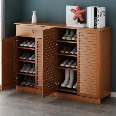 鞋柜家用门口简易收纳楠竹储物柜门口现代简约玄关客柜多层鞋架子