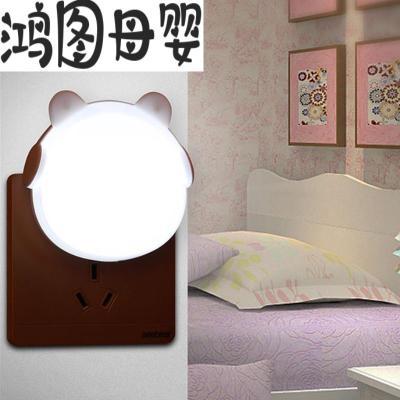 1送1插電帶開關小夜燈創意浪漫節能臥室床頭寶寶嬰兒護眼睡眠臺燈 光控【耳機熊白色】送大白