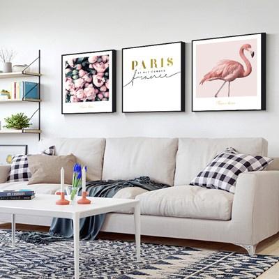 北歐客廳裝飾畫沙發背景墻壁畫古達現代簡約三聯畫臥 深桔紅色 30*30此規格限購一套25mm厚板+防水布紋膜+立體感強整