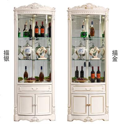 顾致角柜墙角柜三角形客厅角落玻璃储物柜欧式拐角柜餐厅实木转角酒柜