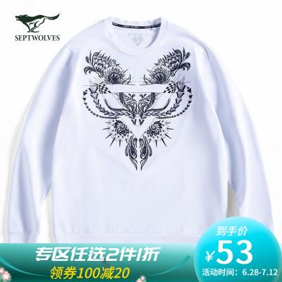 七匹狼狼圖騰系列衛衣男士春季休閑圓領印花白色長袖T恤 803(本白) XL/185A