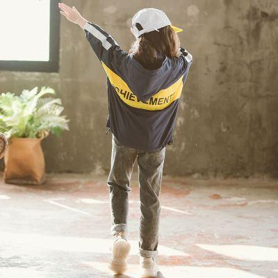 玥乔童装2019春秋季新款韩版女童外套连帽儿童夹克衫中大童洋气上衣潮翻领儿童夹克拉链衫