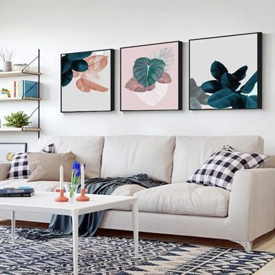 北歐客廳裝飾畫沙發背景墻壁畫古達現代簡約三聯畫臥室 淺灰色 40*40【適合2米左右墻面】大氣木紋框【免打孔】整套價格【