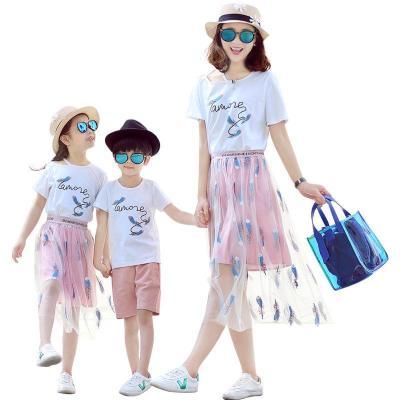2019夏季新款网红亲子装夏装母女装家庭一家三口四口姐弟女童短裙套装威珺