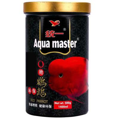 统一 血鹦鹉鱼饲料增艳鱼食增红发色发财鱼地图鱼鱼上浮颗粒鱼粮 艳红500G中粒