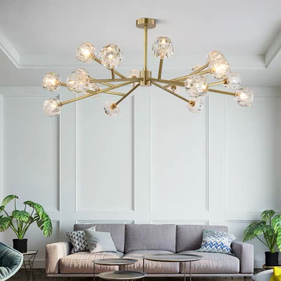 阿庫琉斯 簡約現代LED全銅吊燈客廳燈溫馨臥室燈歐式玻璃燈罩創意單頭餐廳餐吊燈時尚個性北歐吊燈
