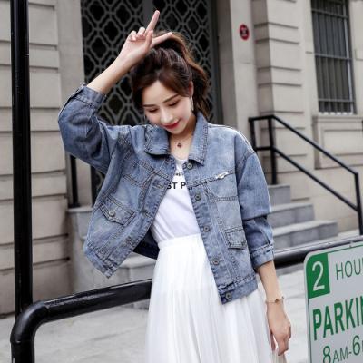 子沫雨JMOORY牛仔外套女短款2020春季新款韓版學院風bf寬松時尚百搭上衣