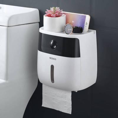 卫生间纸巾盒厕所卫生纸置物架厕纸盒免打孔防水卷纸筒创意抽纸盒 半透黑+白
