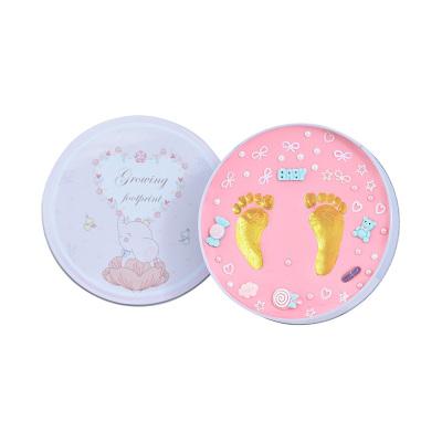【禮盒裝】澳樂寶寶腳印手足印泥胎毛紀念品DIY自制新生嬰兒童百天滿月周歲禮物粉盒粉色
