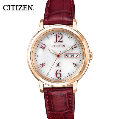 西铁城(CITIZEN)手表 光动能小牛皮表带 商务时尚简约女表 EW2422-12AB