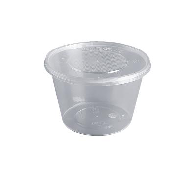 【一次性餐盒 圓形 500ml 透明/黑色 100個 兩箱裝】一次性餐盒圓形透明黑色打包碗外賣飯盒帶蓋加厚