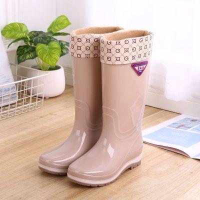 木西十雨鞋女高筒雨靴中筒水靴水鞋加絨防滑膠鞋套鞋時尚高筒雨鞋冬