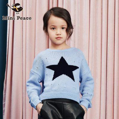 Mini Peace女童毛衫春秋素色破洞潮流洋气儿童套头休闲上衣毛衣针织衫春秋装新款
