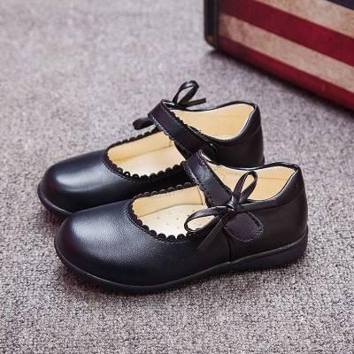 女童皮鞋黑色演出鞋春秋季兒童小女孩公主鞋白色真皮豆豆單鞋學生