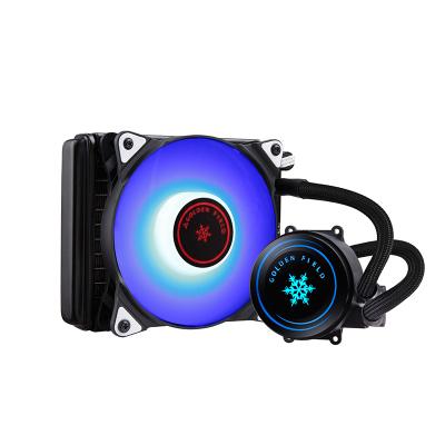 金河田雪影120G水冷散熱器電腦臺式機cpu一體式水冷套裝靜音風扇 黑色(多平臺/LED藍光風扇/勁音散熱)