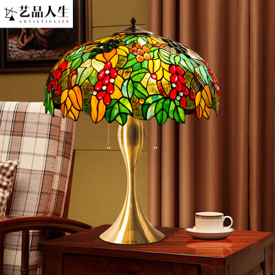 美式田园风家居定制卧室床头装饰玻璃台灯创意大气客厅餐厅摆饰铁艺灯具