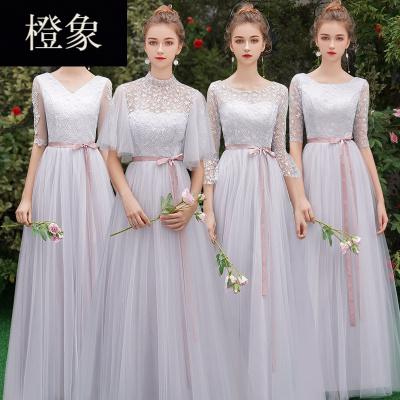 橙象伴娘服女2018新款冬季婚礼姐妹团伴娘礼服仙气质长袖2019春季长款