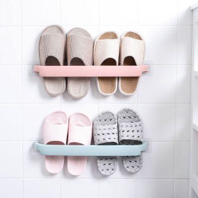 壁掛式浴室拖鞋架免打孔架子衛生間鞋架收納神器架子置物架瀝水 簡約拖鞋架2個裝(藍+粉)