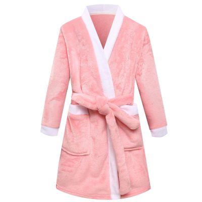 歐蔓得兒童睡袍法蘭絨2-12歲浴袍男女童春秋冬加厚寶寶珊瑚絨睡衣