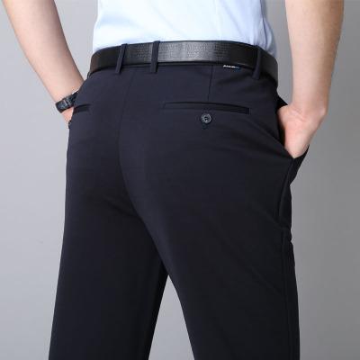 中老年男褲西褲夏季薄款中年休閑褲男高腰寬松彈力長褲爸爸褲子薄