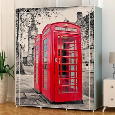 红色电话亭布衣柜 卷帘式收纳组装钢管单人宿舍寝室无纺布衣柜
