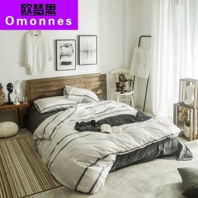 Omonnes 無印風90%純棉四件套 全活性床單床笠被套家紡 床上用品水洗棉