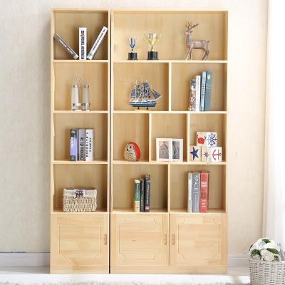 閃電客實木書柜書架帶門柜子松木兒童自由組合置物書櫥簡約現代定做定制 松木B+C款(帶門)寬140 1.4米以上寬
