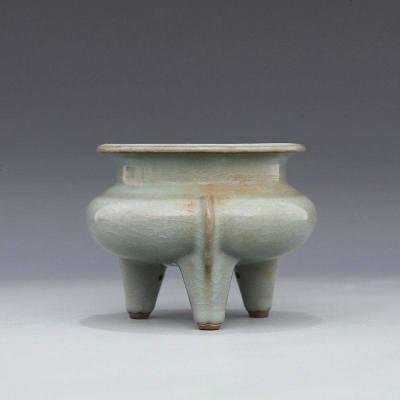 宋 官窯 天青釉 細碎紋 三足折沿爐 古董瓷器古玩古瓷器 老貨收藏