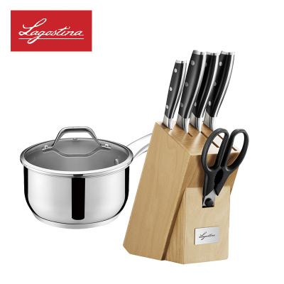 拉歌蒂尼(Lagostina)艾樂系列 拉歌蒂尼不銹鋼耐磨刀具鍋具七件套