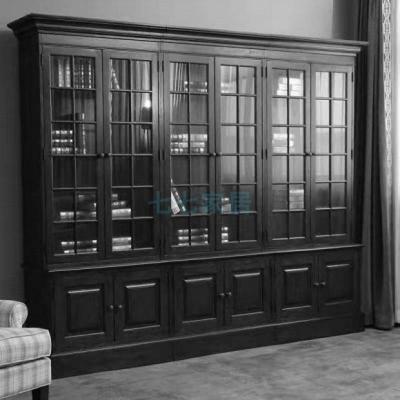 美式鄉村紅橡仿古玻璃書房閃電客組合書柜田園家具復古書櫥可 六門書柜全橡木 1.4米以上寬