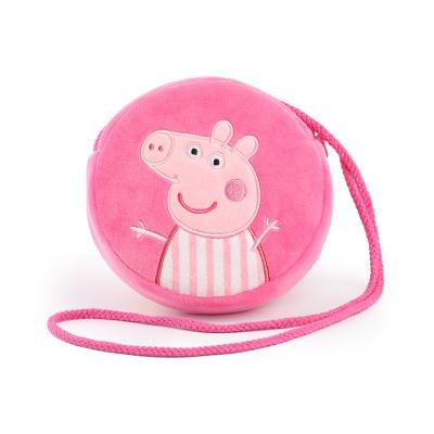 小豬佩奇圓形零錢包 兒童卡通小包 佩奇毛絨斜跨包女孩可愛玩具 粉色