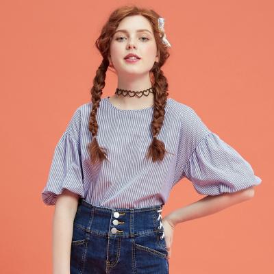 【3件1.5折价:25.4】美特斯邦威衬衫女短袖直筒圆领舒适短衬衫夏季新款