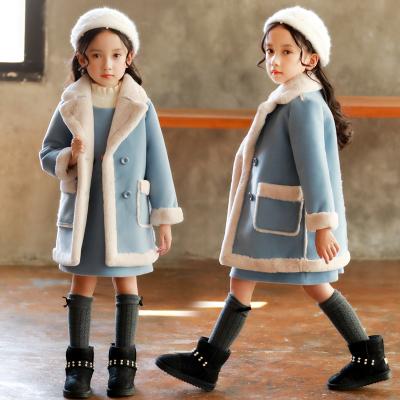 加绒加厚女童秋冬款毛呢外套小女孩新款冬季童装儿童冬装洋气大衣 威珺