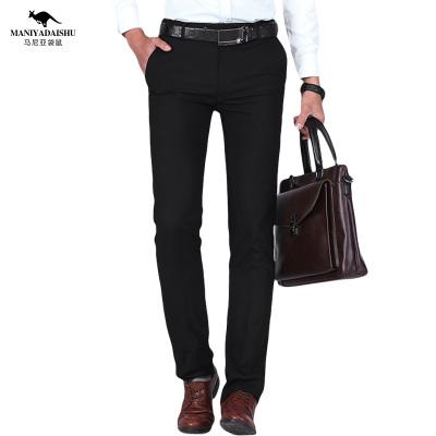 馬尼亞袋鼠 男士商務韓版直筒職業正裝黑色西裝褲大碼男褲長褲