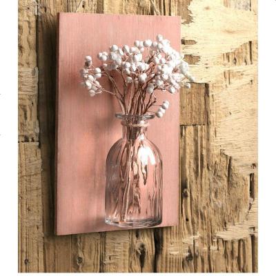 满天星干花花瓶挂壁挂装饰花干花套装干花花束透明家居摆设玻璃瓶
