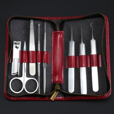 不銹鋼粉刺針夾黑頭祛痘針八件套裝暗瘡修眉毛剪工具