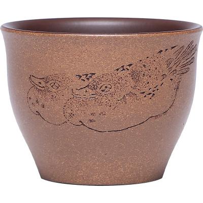紫砂主人杯原礦紫泥粉漿全手工刻繪小茶碗品茗杯精品茶杯