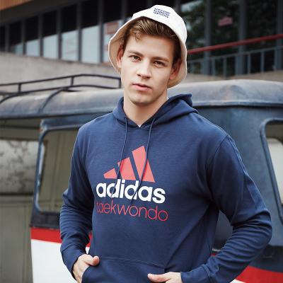 阿迪达斯男子卫衣 秋季连帽跑步运动学生上衣 针织保暖套头衫