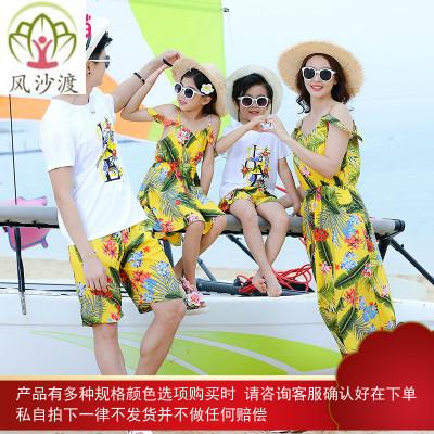 沙滩亲子装母女夏装仙女连衣裙洋气一家三口四口母子海边度假图片件数为展示