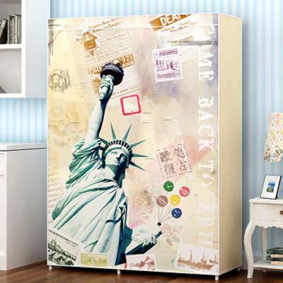 自由女神衣柜 时尚印花宿舍公寓单人布衣柜简约钢管加固衣柜