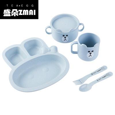 小麥秸稈兒童碗分格餐盤幼兒園勺子筷子吃飯碗寶寶防摔家用餐具-lt01 兔子五件套-北歐藍