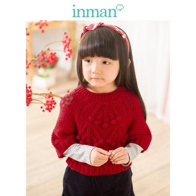 茵曼INMAN童秋冬款原创设计春秋中大女童圣诞节纯色圆领套头毛衣针织衫