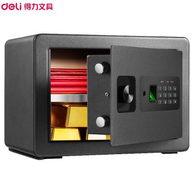 得力(deli)33559指紋密碼保管箱(黑色) 高25cm雙保險辦公家用入衣柜防盜小型隱形保管柜 入墻保險柜保險箱
