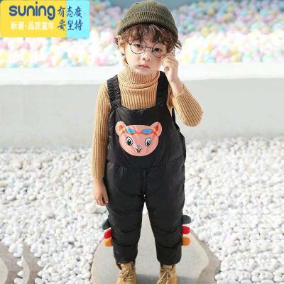 儿童背带裤套装女男童洋气1-3岁2宝宝羽绒棉裤加厚冬季小孩连体裤