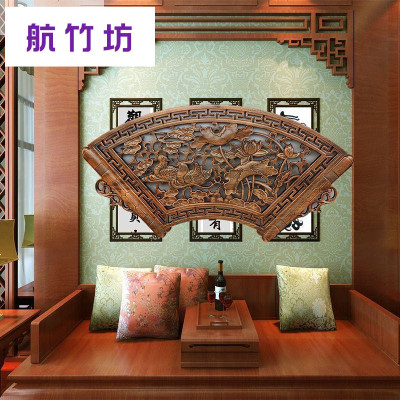 东阳木雕福字扇形挂件客厅背景墙壁挂中式仿古实木香樟木玄关挂屏