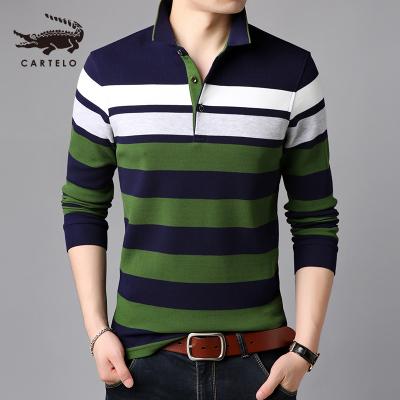 卡帝樂鱷魚(CARTELO)秋季新款中年男士長袖T恤條紋翻領男裝寬松上衣Polo衫