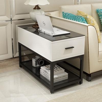 簡約客廳小茶幾茶桌沙發邊柜邊角幾邊角桌儲物柜鋼化玻璃扶手柜