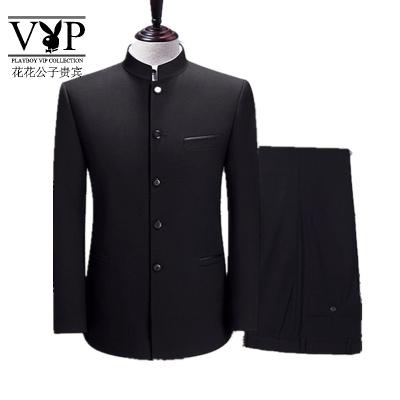 花花公子貴賓中山裝套裝男士青年修身中華立領西服中式結婚禮服宴會中國風唐裝