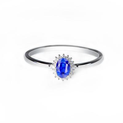 她世代(SHE CENTURY)天然藍寶石0.5克拉矢車菊18K金鑲嵌鉆石寶石戒指 女士 生日禮物圣誕節禮物 戴妃款